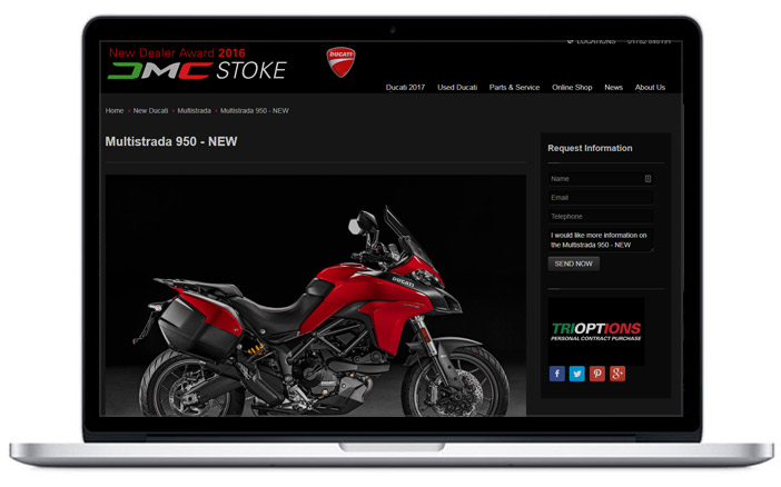 ducati dealership website design