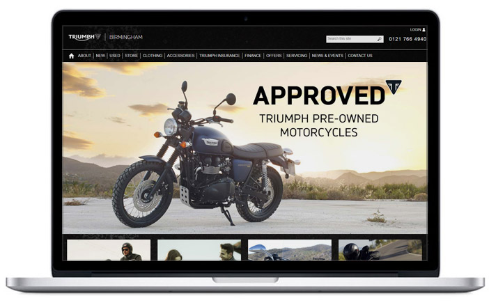 triumph dealer website design