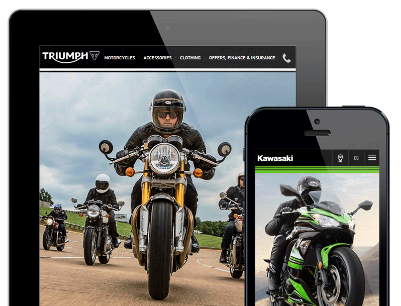 motorcycle dealer website design triumph