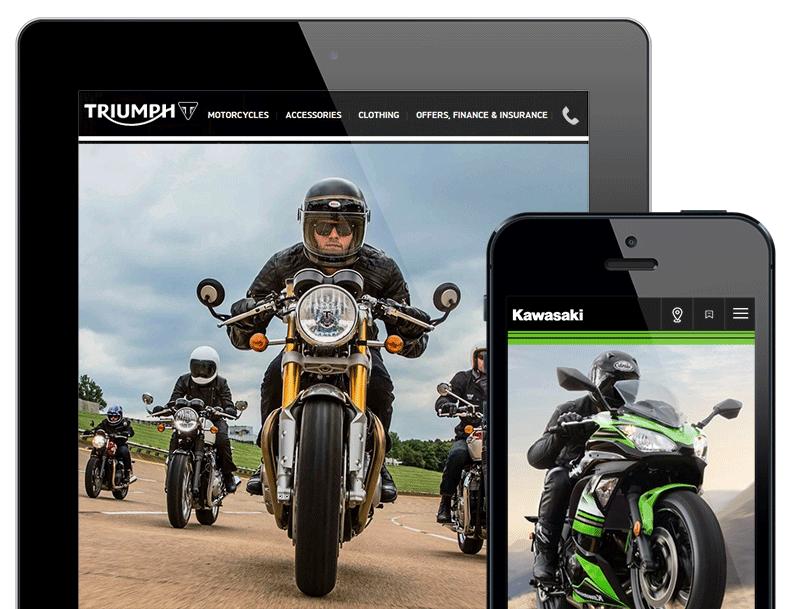 motorcycle dealer website design triumph